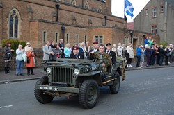 Landrovers lead the Parade - Veterans Memorial Monument, Glasgow