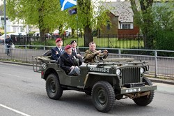 A Landrover leads the Parade in Glasgow