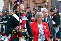 Provost Mike Robbins and Marjory McLachlan Lord Lieutenant Inspect Argyll and Sutherland Highlanders - Stirling 2013