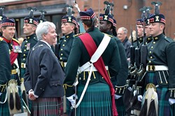 Provost Mike Robbins of Stirling inspects the Argyll and Sutherland Highlanders - Farewell Parade, Stirling 2013