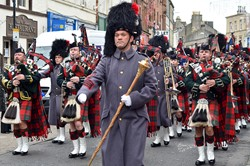 Military Pipe Band - Royal Highland Fusiliers (2 Scots) Freedom Parade in Ayr