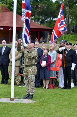Regimental Sergeant Major R R Alexander - Flag Raising