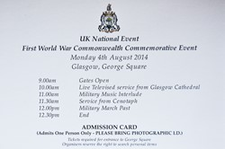 Order of Service - 1st World War Commonwealth Commemoration Glasgow 2014