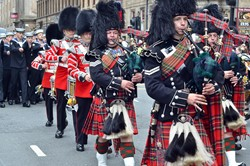 Pipes and Drums Scots Guards - 1st World War Commonwealth Commemoration Glasgow 2014