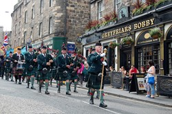 Royal Scots Association Pipe Band on parade in Edinburgh
