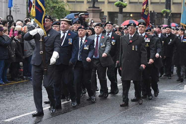 Veterans in George Square Remembrance Sunday Glasgow 2016