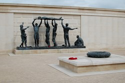 Sculpture - The Stretcher Bearers - Armed Forces Memorial, National Memorial Arboretum, Staffordshire, England