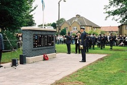 RAF Air Marshall Sir Robert Austin Lays Wreath, Airmen Memorial, RAF Grangemouth