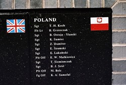 Polish Airmen Names, Memorial Wall, RAF Grangemouth